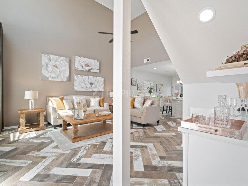 Eastlake model home - Living Room and upgraded bar area